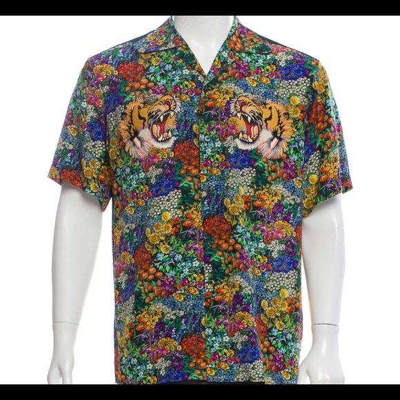 b31b11ebf Gucci Shirts | Silk Floral Tiger Patch Bowling Shirt | Poshmark